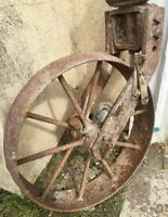 RUSTIC GARDEN DECOR / OLD FARM WHEEL / ONCE... SOME TYPE OF OLD HAND PLOW