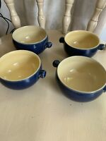 Bourne Denby Cottage Blue Lugged Soup Bowls stoneware