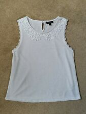 Topshop White Sleeveless Crochet Lace Peter Pan Collar Top Size 10