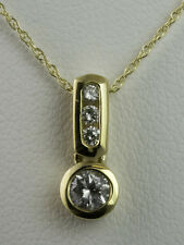 4-STONE DIAMOND PENDANT - 1/4 CTW - 14K YELLOW GOLD with 14K 18-inch GOLD CHAIN