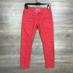Free People Women's Size 26 Colored Cargo Skinny Jeans Bright Pink Coral