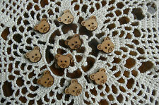 TEDDY BEAR HEAD BUTTONS Ears & Nose- 2 Holes 4 Eyes x 20 WOOD VENEER 15mm across