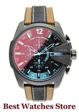 Diesel Mega Chief DZ4305 Mens Red Dial Analog Quartz Watch With Leather Strap