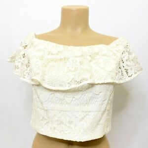 WAYF Road Trip Women's size Large Off-the-Shoulder Crop Top Ivory Lace Lined NEW