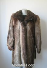 Women's Sz 10 Real  Beaver Fur Coat with Leather Very Good CLEARANCE SALE