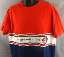 Vintage Chevrolet Corvette T-Shirt XL Striped Extra Large Car Shop Stained Chevy