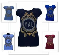 Ladies Women Casual Short Sleeve T-shirt with printed phrase Royalty Fitted