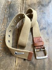 Nike Swoosh Cotton & Leather Belt Size Small Silver Buckle Men's
