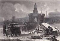 NAPOLÉON BONAPARTE Incendie Moscou Kremlin Russie Московский пожар Москва 1855