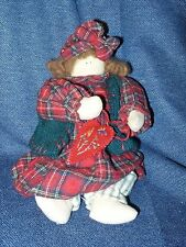 Vintage OoAk Hand Made Sewn Knitted Primitive Doll in Nighty with Heart Euc