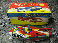 ROCKET RACER NEW COLLECTABLE VTG. MF735 1960 CHINA FRICTION SIREN SPACE  TIN TOY