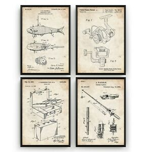 Fishing Set Of 4 Patent Prints - Poster Wall Art Decor Gifts - Unframed