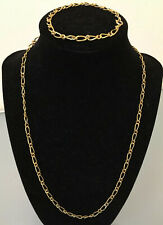 VINTAGE SIGNED KOREA NECKLACE & BRACELET SET GOLD TONE LINK JEWELRY 20""
