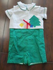 Funtasia! too...  Green Polka Dot Romper/White shirt, Christmas Bib Size 4R