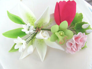 """Gum Paste Sugar Lily Carnation Tulip Orchid Cake Decorating Flowers 3"""" x 6"""""""