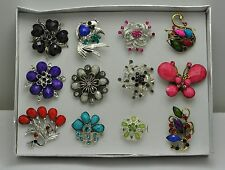 WHOLESALE LOT 12 PCS MIX COLLECTION CHIC COCKTAIL COSTUME JEWELRY RINGS #011