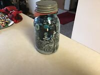 Lot of Vintage Blue Buttons Quart Jar Included