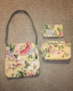 Maggi B Messenger Bag W/ Long Strap Bag/Matching Large & Smaller Cosmetic Cases