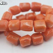 "Jewelry Making 12x14mm Freeform Column Orange Coral GEMSTONE Beads Strand 16"""