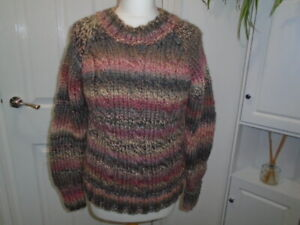 Gorgeous chunky knit long sleeve pink and green hand-knitted jumper, size 12 NEW