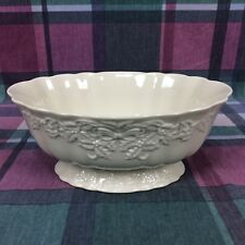 Lenox Centerpiece White Serving Bowl Ribbon Bow Leaf Decorative Special Made Usa