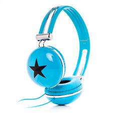 RockPapa Star Childrens Girls Kids Boys DJ Style Headphones Earphones Turquoise