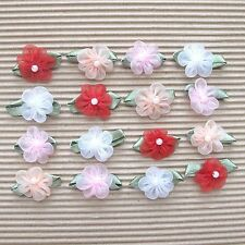 "US SELLER - 40pcs x 3/4"" Organza Ribbon Flower Appliques w/Leaf/Bead ST436"