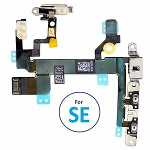 For iPhone SE Power Flex Cable Mute Switch Volume Buttons With Brackets