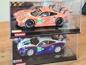 2 Carrera Digital 124 Autos - Porsche 911 RSR  - 956 Design +  Pink Pig Design