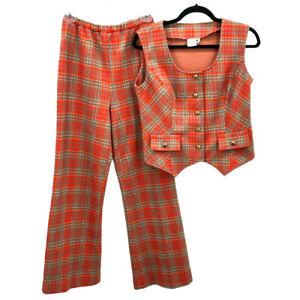 VTG 60s 70s Graff Bell Bottom Pant Vest Leisure Set Red Plaid Retro MCM MOD Sz S
