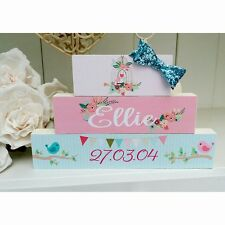 Shabby Chic personalised freestanding name baby christening wooden blocks gift