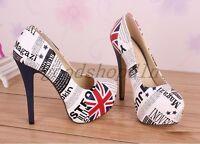 UK Ladies Round Toe Platform Stilettos Shoes Slip On High Heels Pumps UK1.5-9 sz