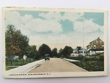 Postcard Lincoln Ave New Brunswick NJ New Jersey old street view old car A5