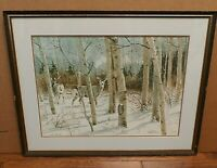 Hal Rice Deer Watercolor Painting Limited Edition Print Wildlife Signed & Framed