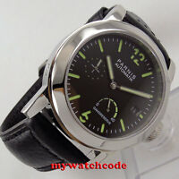 44mm PARNIS black dial Sapphire glass ST2530 Automatic Mens Watch P700