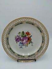Vintage KPM Hand Painted Flowers Reticulated Porcelain Plate Germany