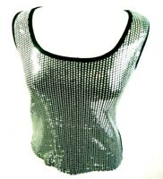 BISOU BISOU Womens Sequin Tank Top Sz S Small Silver Cotton Sleeveless Shirt