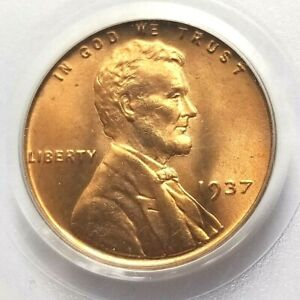 1937 LINCOLN CENT PCGS MS66 RED BU UNC NICE COIN NO RESERVE!
