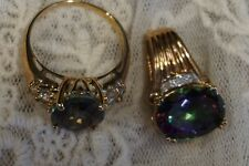 10k yellow gold mystic topaz and diamond ring and pendant! Super shiny!
