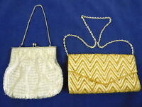 Lot of 2 Vintage Off White & Gold Beaded Evening Bags Purse  Damage Crafting