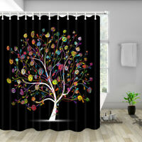 Colorful Floral Tree Shower Curtain,Bathroom Accessories 12PCS Shower Hooks