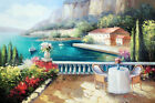 Italian Lake Como Home Resort Patio Table For Two Flowers Oil Painting STRETCHED