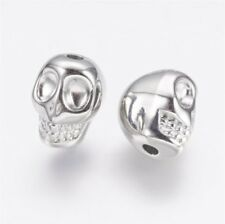 🎀 50 Silver Metallic Chrome Skull Pony Beads 12x9 mm Day Of The Dead 🎀