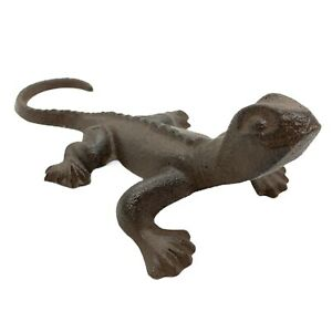 Gecko Lizard Cast Iron Garden Animal Ornament Outdoor Statue