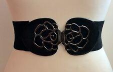 Cinturón negro con cintura elástica ancha/Grueso Hebilla De Plata Flor/elástico/16