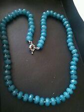 "Aquamarine natural gem necklace 18"".UK SELLER.Real opaque gems.Crystal Healing"