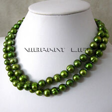 32 Inches 8-10mm Olive Freshwater Pearl Necklace Off Round Strand AC