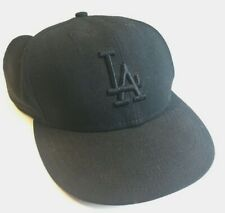 MLB Los Angeles Dodgers New Era Black Baseball Cap Hat Fitted Size 7 1/8 Wool