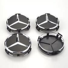4x 75mm schwarz Radmitte für Mercedes Benz Radkappe  Emblem Felgenabdeckung
