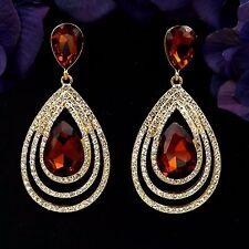 Gold Plated GP D Topaz Crystal Rhinestone Chandelier Drop Dangle Earrings 08524